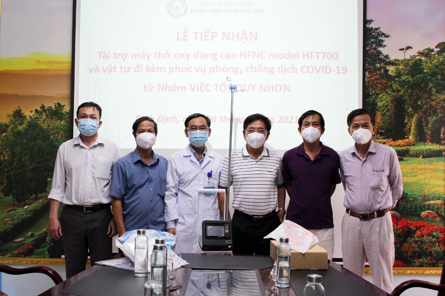 Nhóm VIỆC TỐT QUY NHƠN tiếp tục ủng hộ 01 máy thở Oxy dòng cao HFNC phục vụ phòng, chống dịch Covid-19