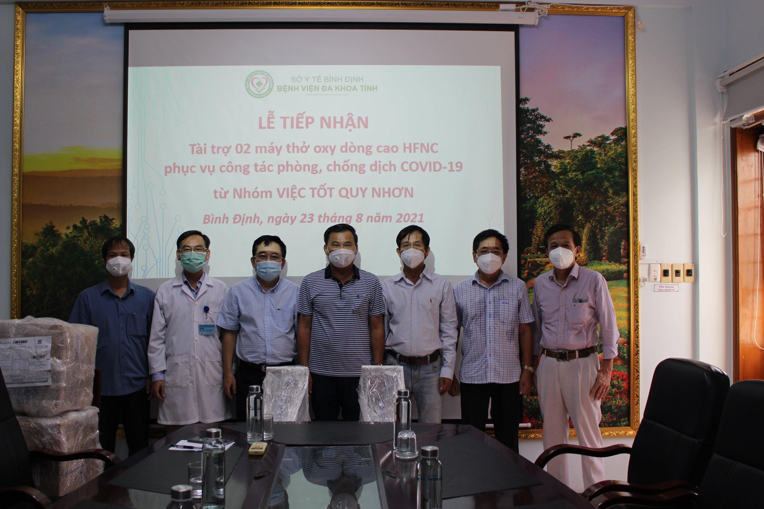 Nhóm VIỆC TỐT QUY NHƠN ủng hộ Bệnh viện đa khoa tỉnh Bình Định 02 máy thở Oxy dòng cao HFNC phòng, chống dịch Covid-19