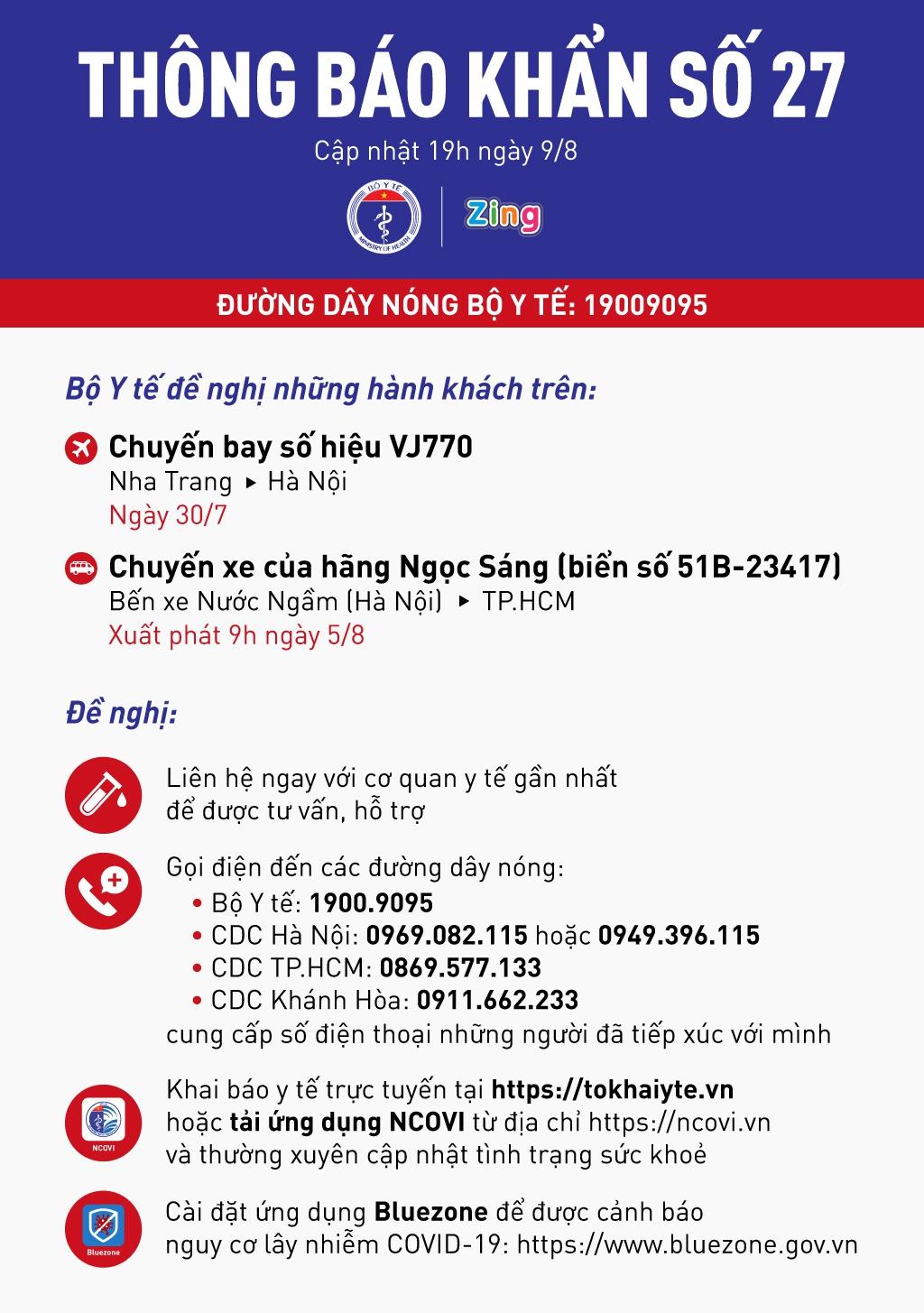 Bộ Y tế tìm người trên chuyến bay, xe khách về Hà Nội và TP.HCM